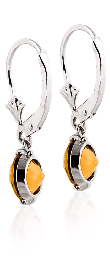 Citrine Drop Earrings 3.1 ctw in 9ct White Gold