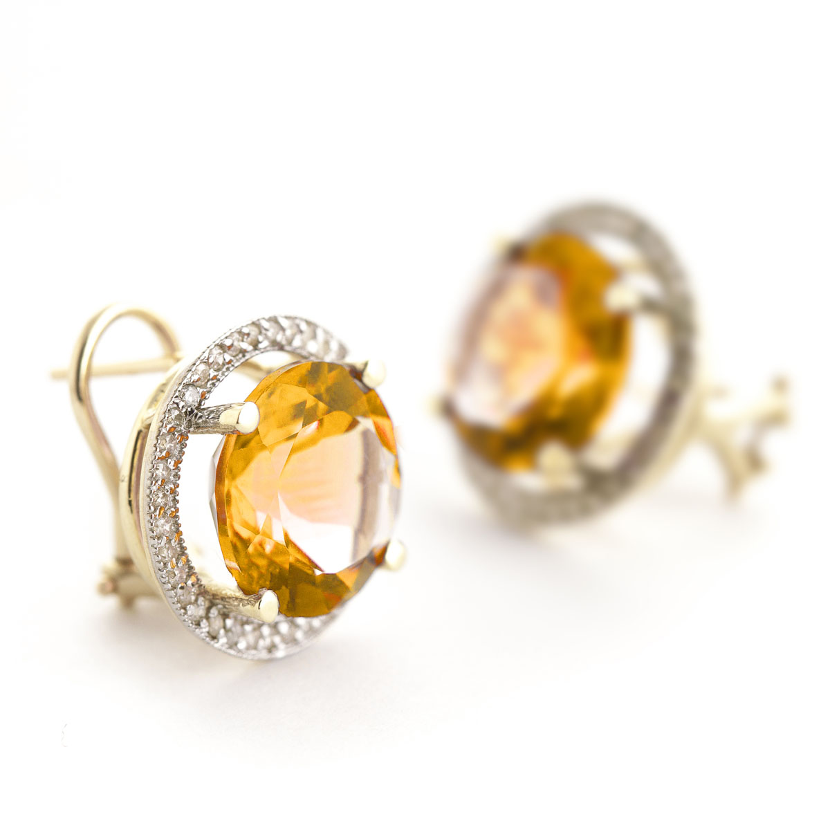 Citrine French Clip Halo Earrings 12.4 ctw in 9ct Gold