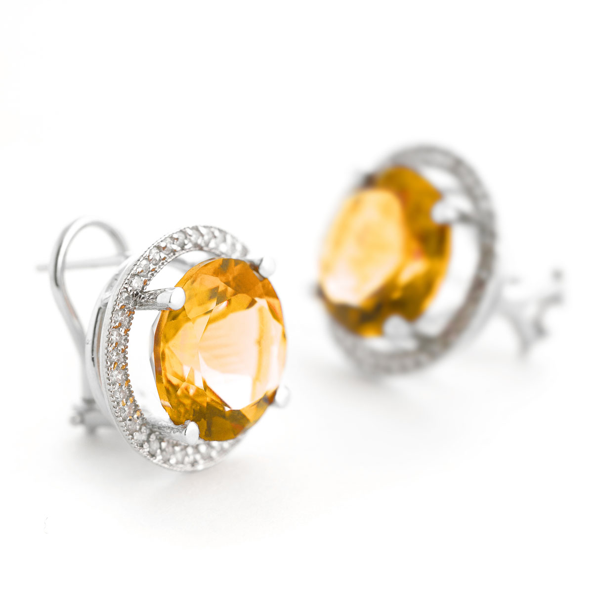 Citrine French Clip Halo Earrings 12.4 ctw in 9ct White Gold