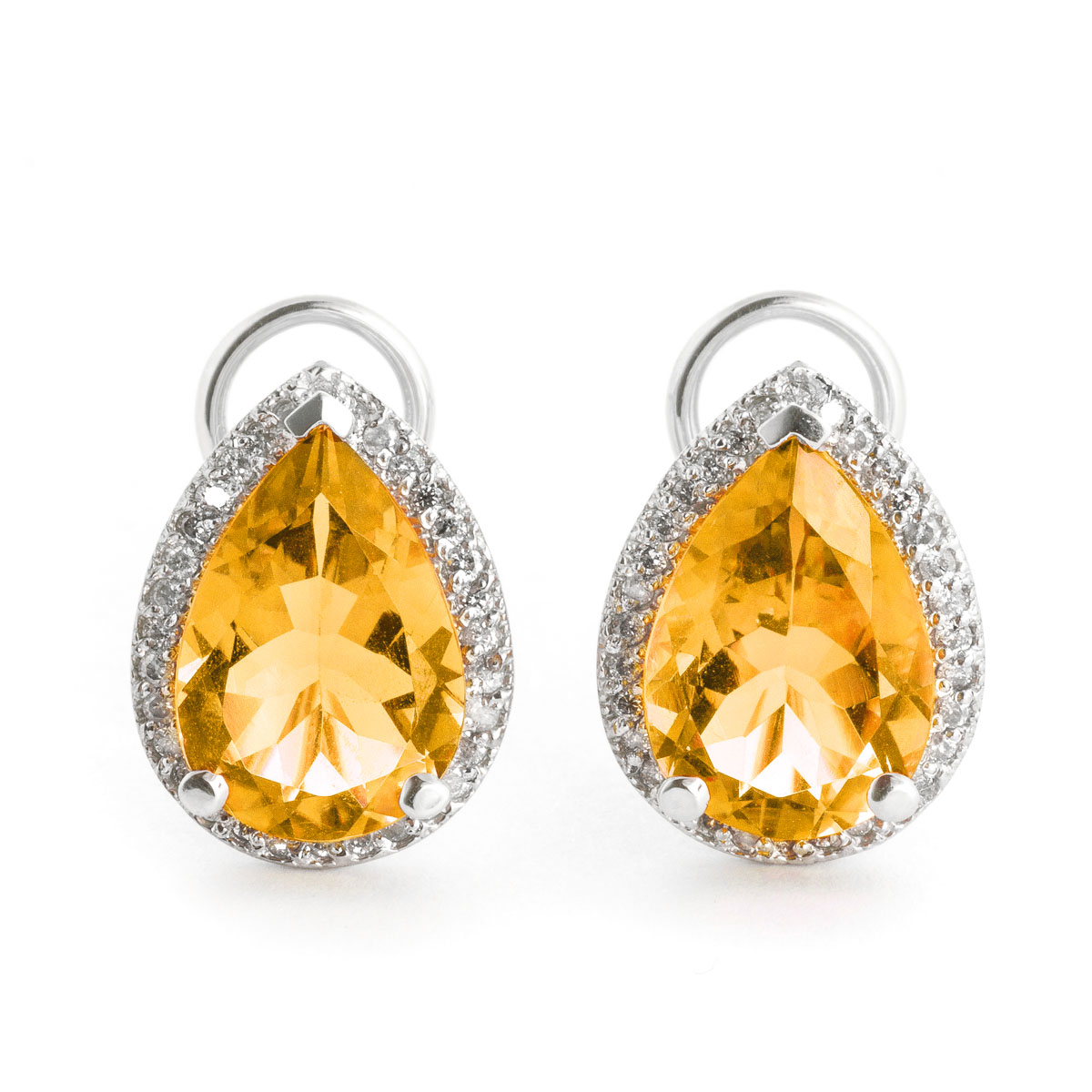 Citrine French Clip Halo Earrings 7.32 ctw in 9ct White Gold