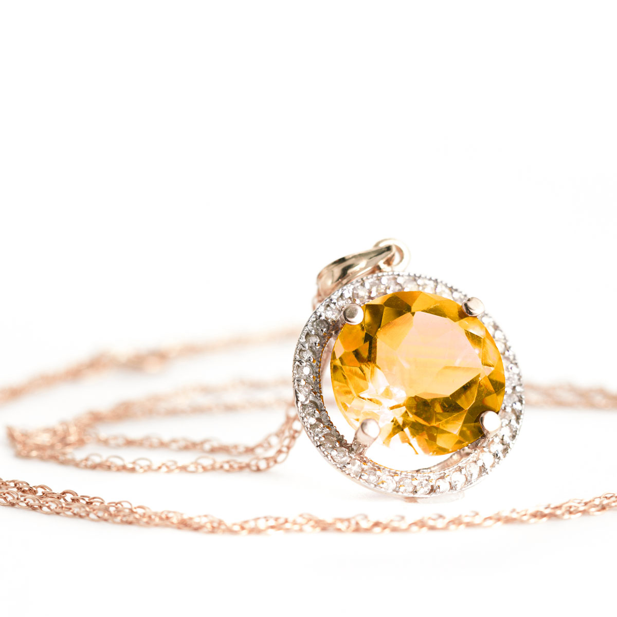 Citrine Halo Pendant Necklace 6.2 ctw in 9ct Rose Gold