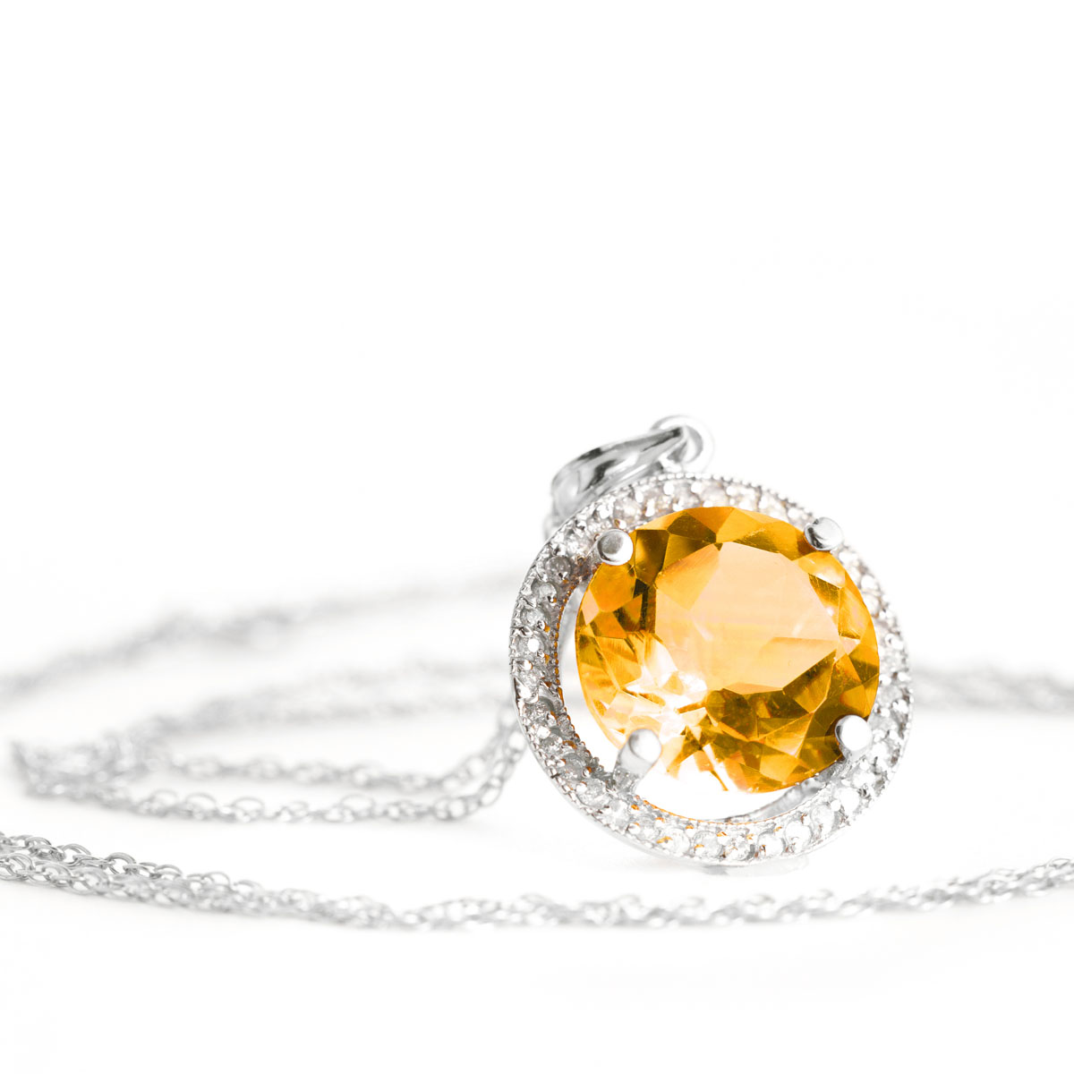 Citrine Halo Pendant Necklace 6.2 ctw in 9ct White Gold