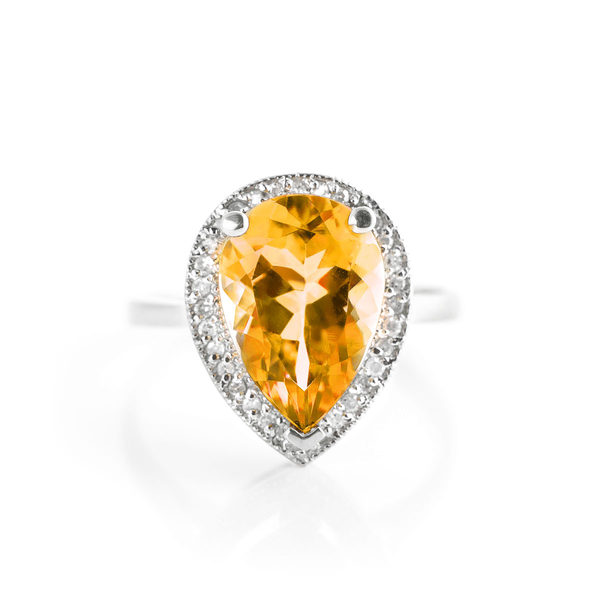 Citrine Halo Ring 3.41 ctw in Sterling Silver