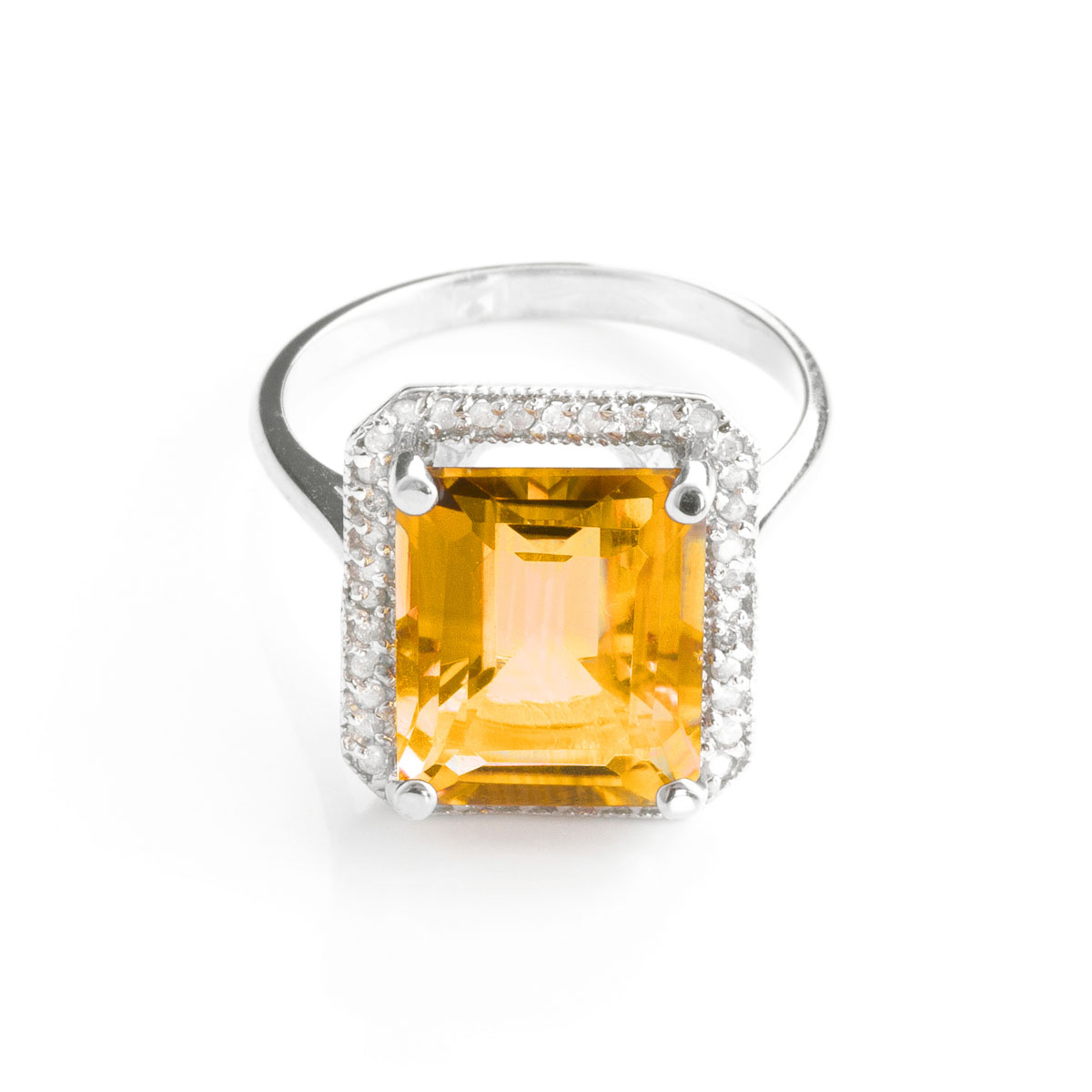 Citrine Halo Ring 5.8 ctw in 9ct White Gold