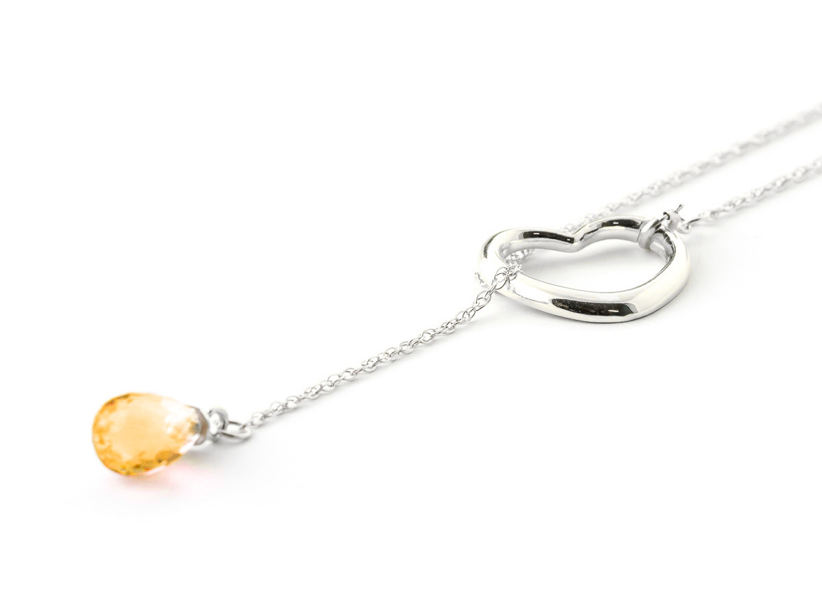 Citrine Heart Drop Pendant Necklace 2.25 ct in 9ct White Gold