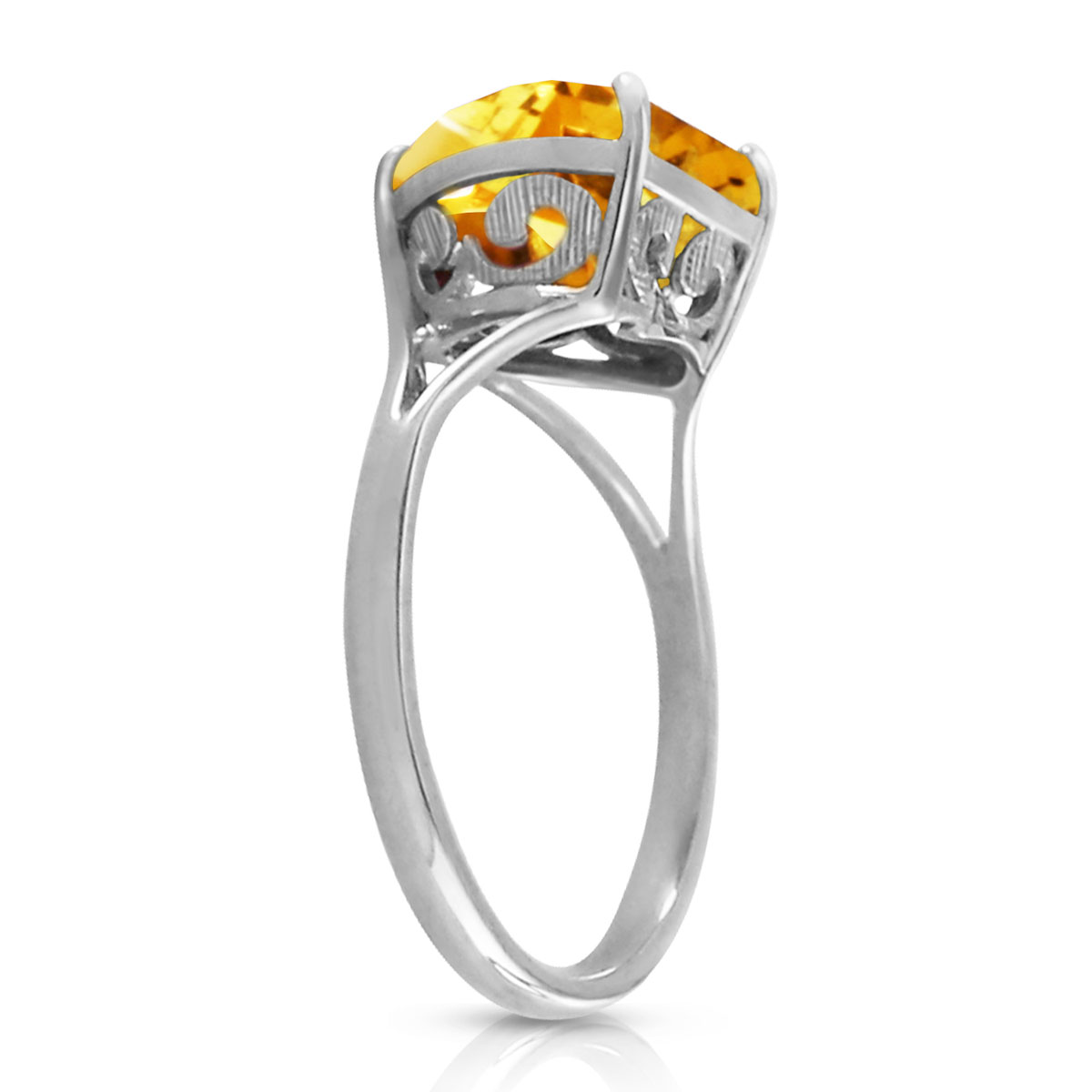 Citrine Large Heart Ring 3.1 ct in 9ct White Gold