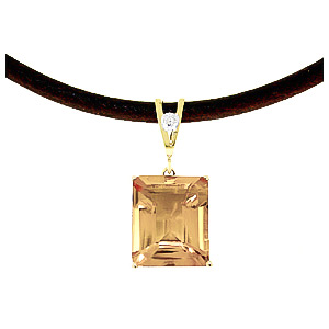 Citrine Leather Pendant Necklace 6.51 ctw in 9ct Gold