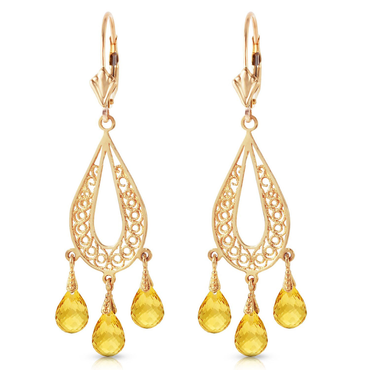 Citrine Mirage Drop Earrings 3.75 ctw in 9ct Gold