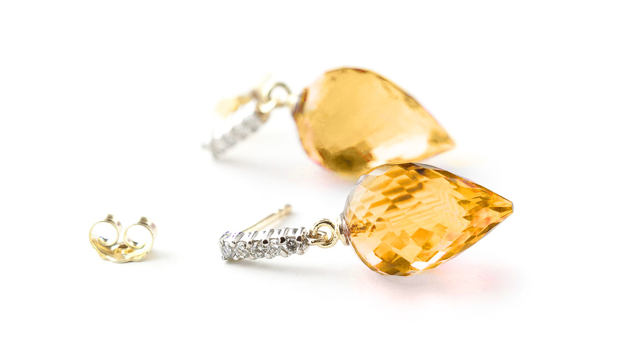 Citrine Stud Earrings 19.15 ctw in 9ct Gold