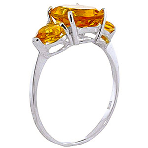 Citrine Three Stone Ring 3.5 ctw in 9ct White Gold