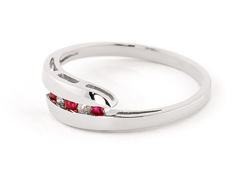Diamond & Ruby Precision Set Channel Set Ring in 9ct White Gold