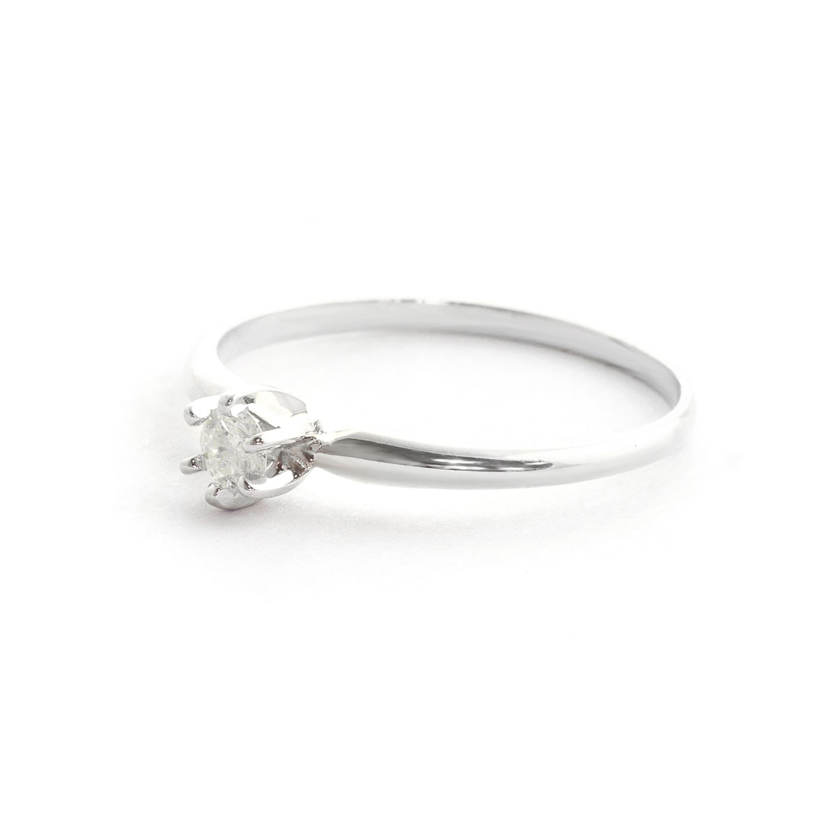 Diamond Crown Solitaire Ring 0.15 ct in 9ct White Gold