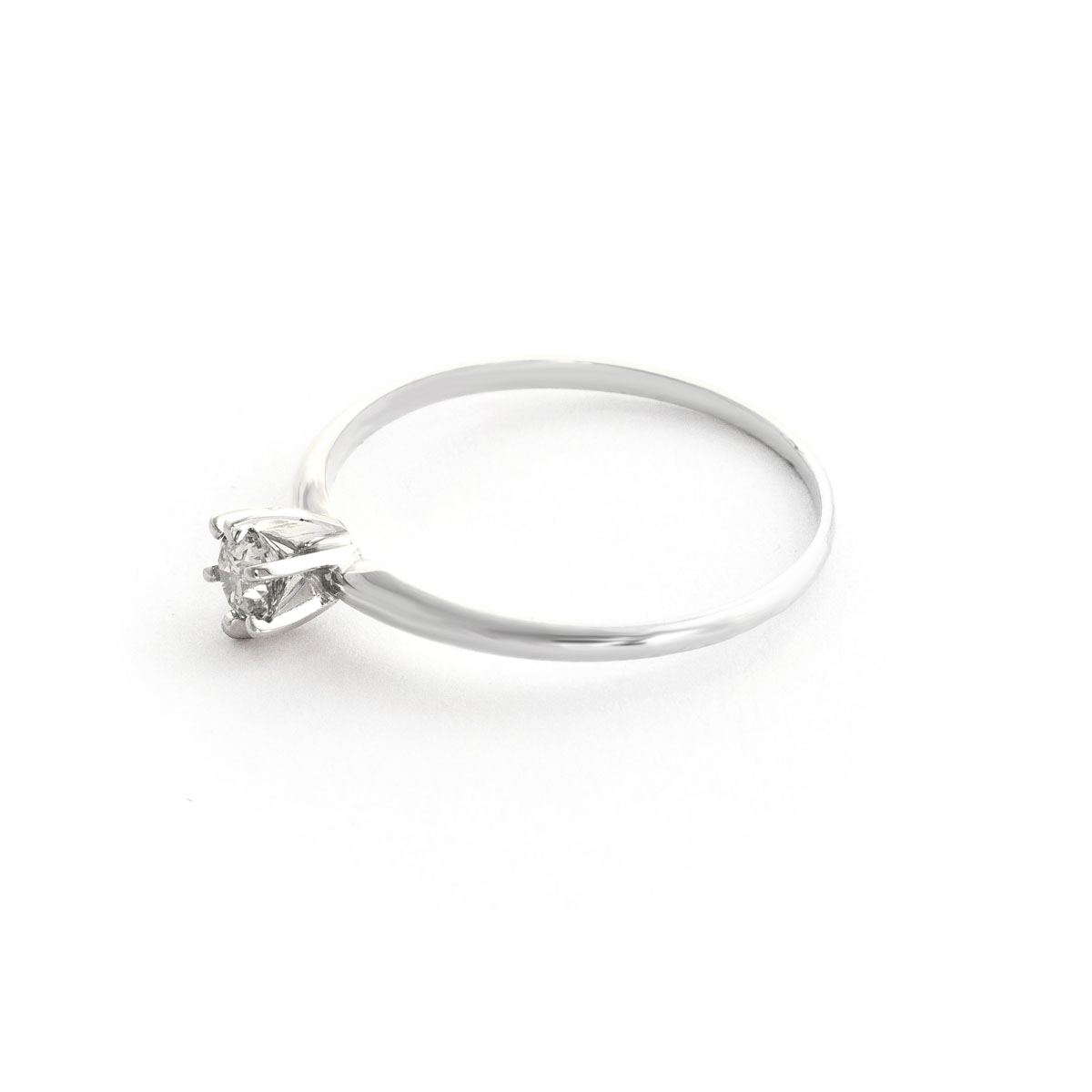 Diamond Crown Solitaire Ring 0.25 ct in Sterling Silver