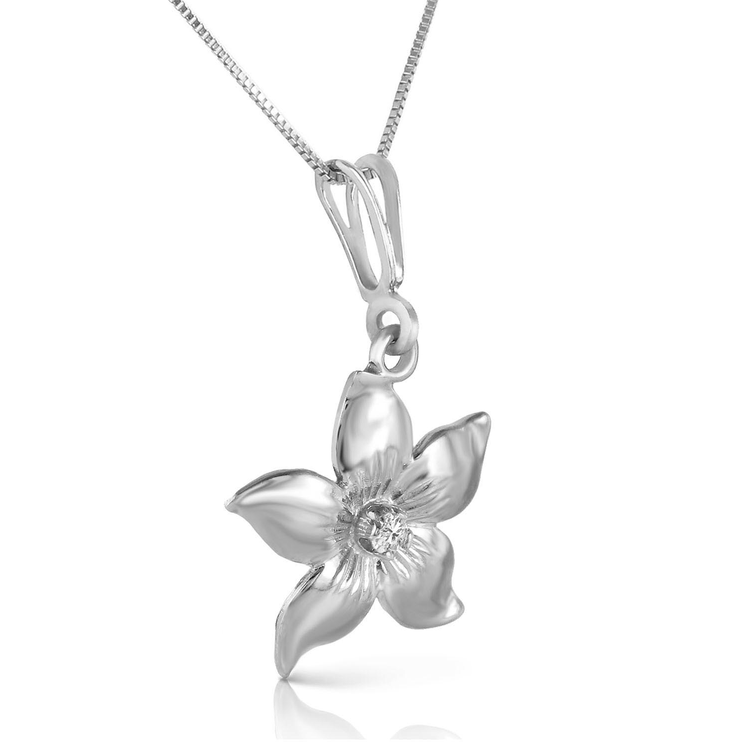 Diamond Flower Petal Pendant Necklace 0.05 ct in 9ct White Gold