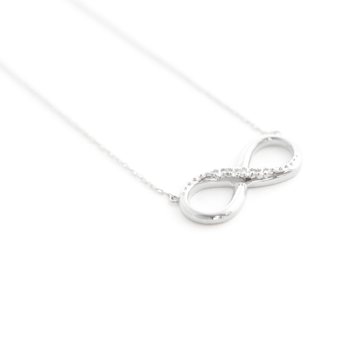 Diamond Infinite Pendant Necklace 0.03 ctw in 9ct White Gold