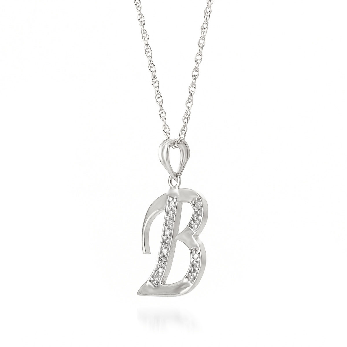 Diamond letter initial b pendant necklace in 9ct white gold 5615w diamond letter initial b pendant necklace in 9ct white gold mozeypictures Images