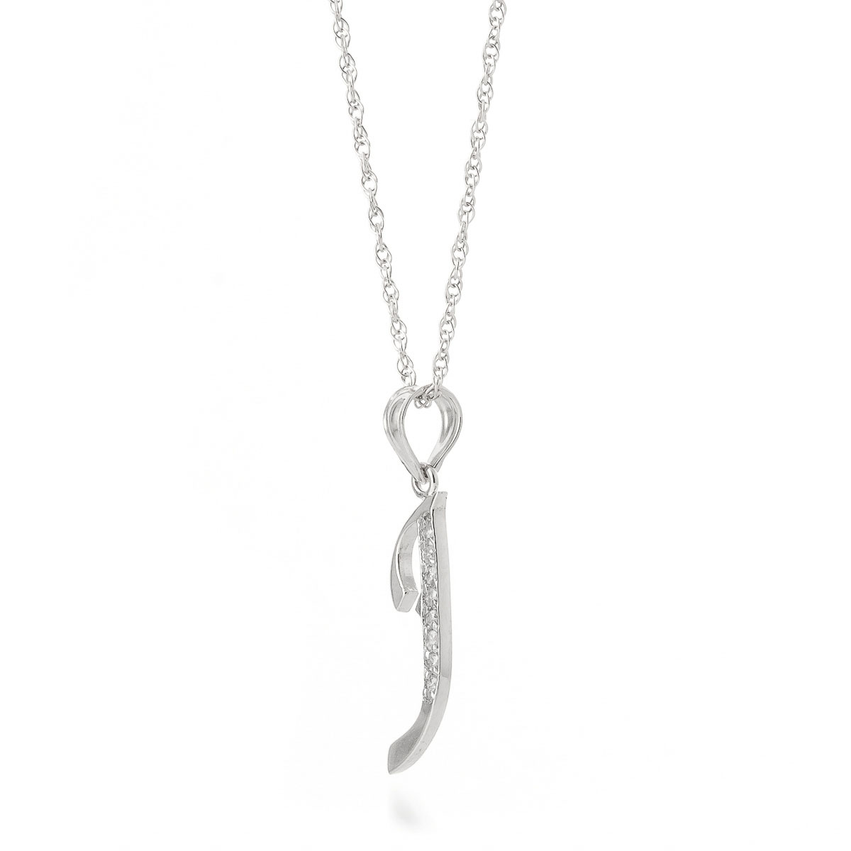302170cab4aae Diamond Letter Initial J Pendant Necklace in 9ct White Gold
