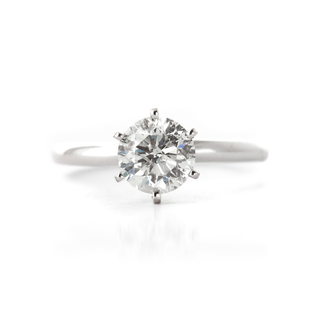 Diamond Solitaire Ring 1 ct in Sterling Silver