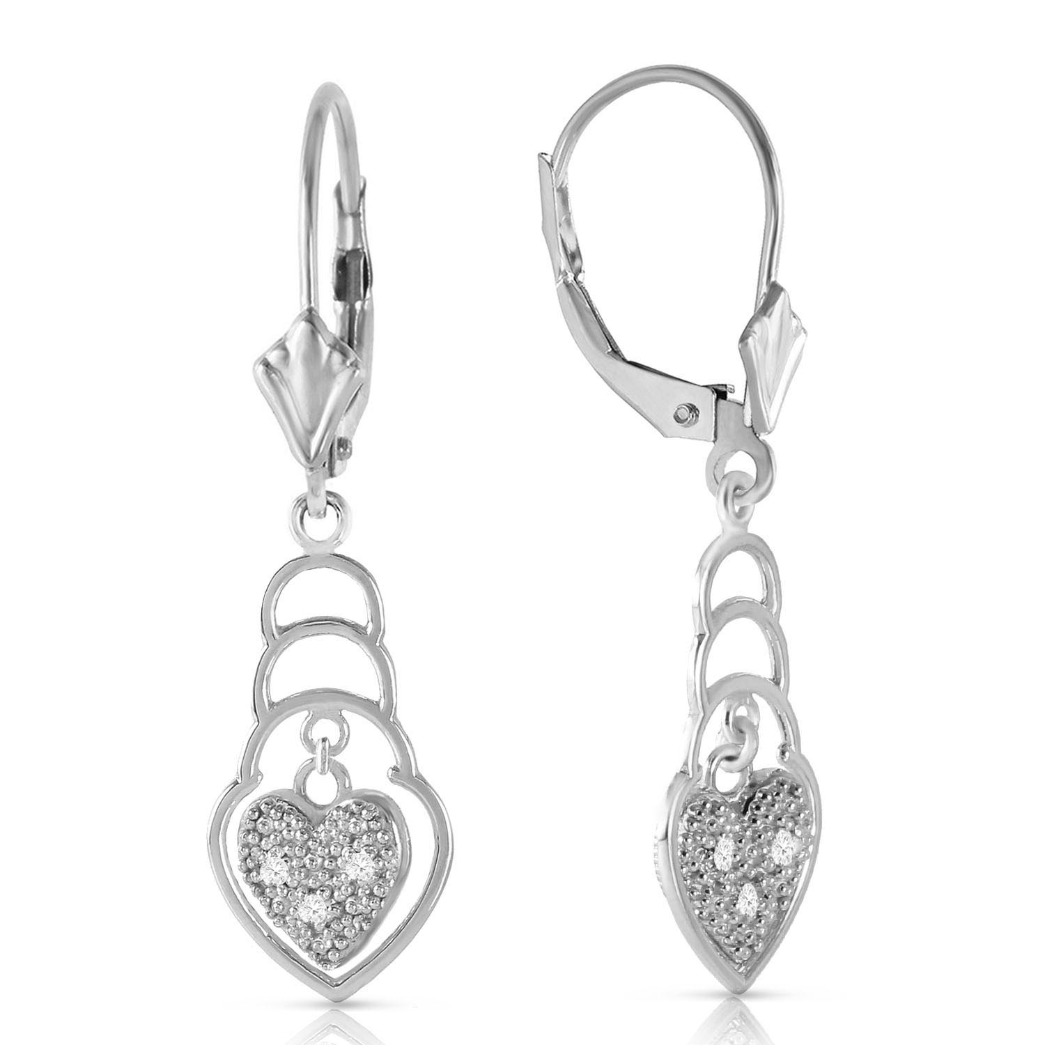 Diamond Wireframe Drop Earrings 0.03 ctw in 9ct White Gold