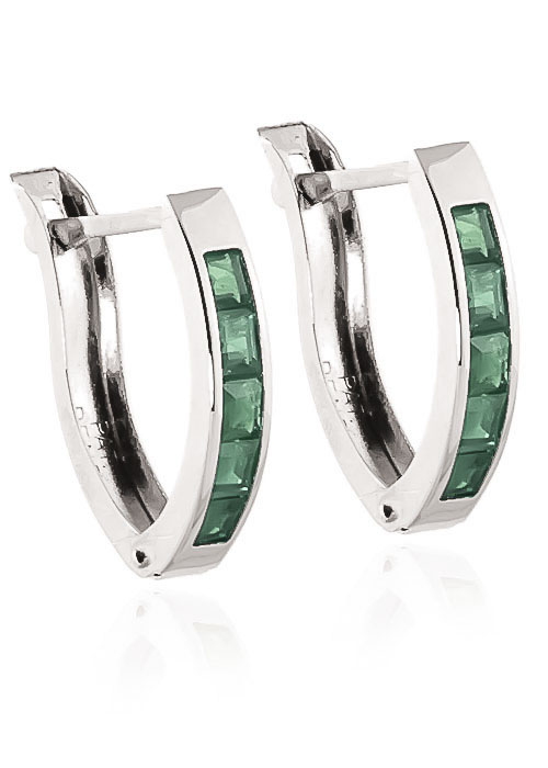 Emerald Acute Huggie Earrings 0.8 ctw in 9ct White Gold
