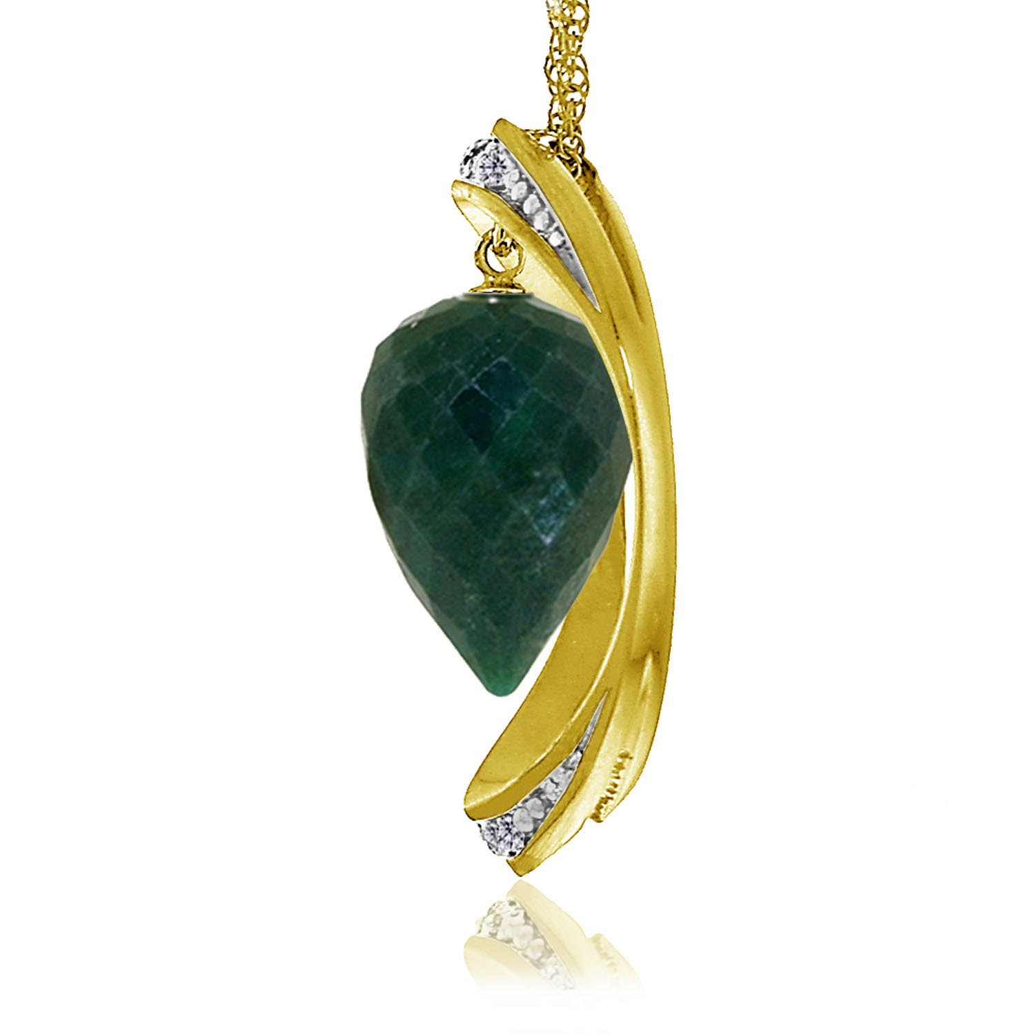 Emerald & Diamond Drop Pendant Necklace in 9ct Gold