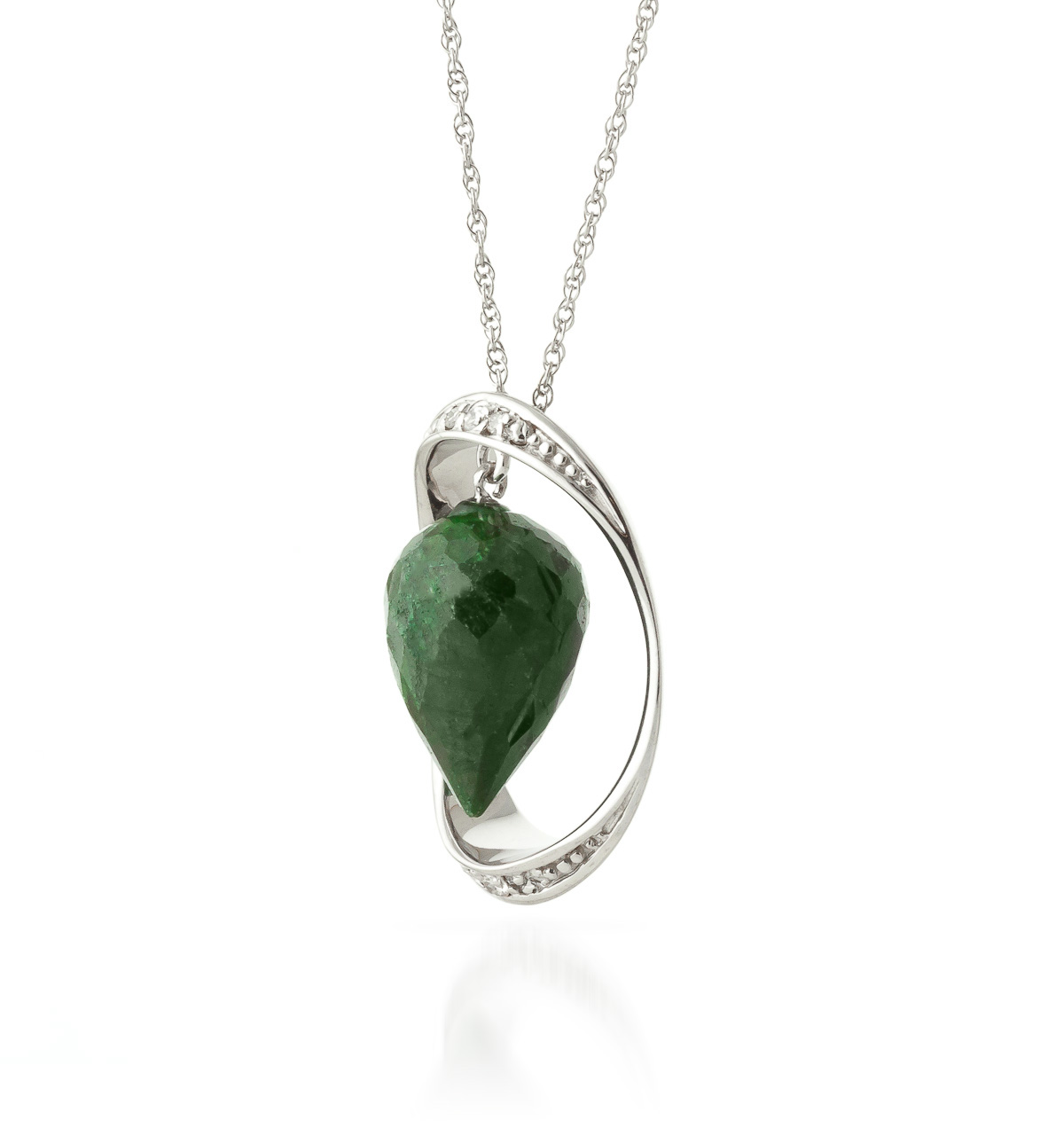 Emerald & Diamond Drop Pendant Necklace in 9ct White Gold