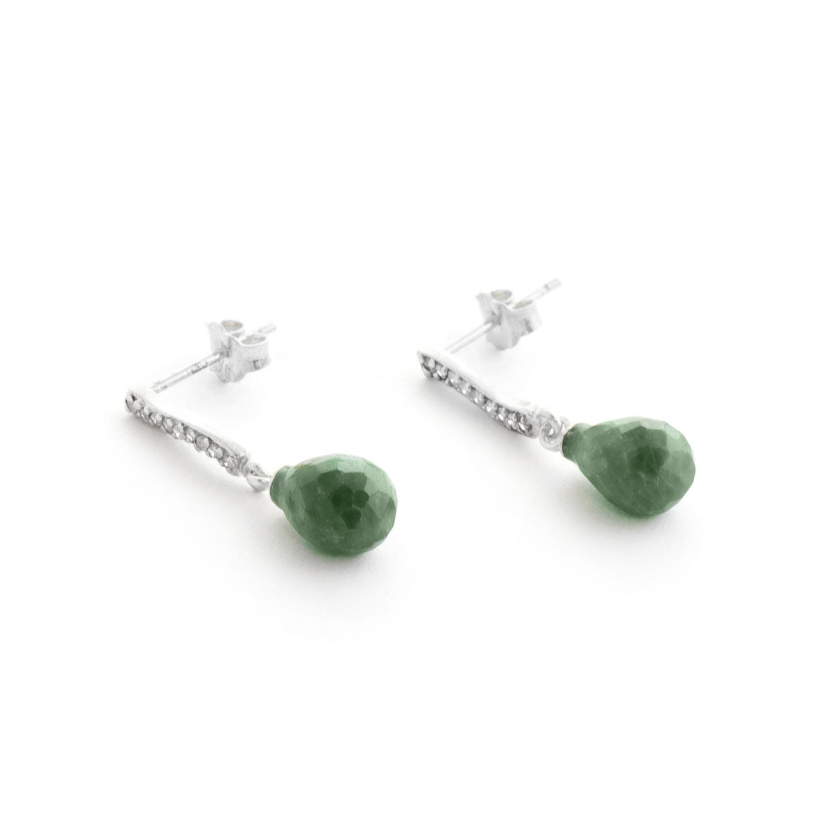 Emerald & Diamond Droplet Earrings in 9ct White Gold