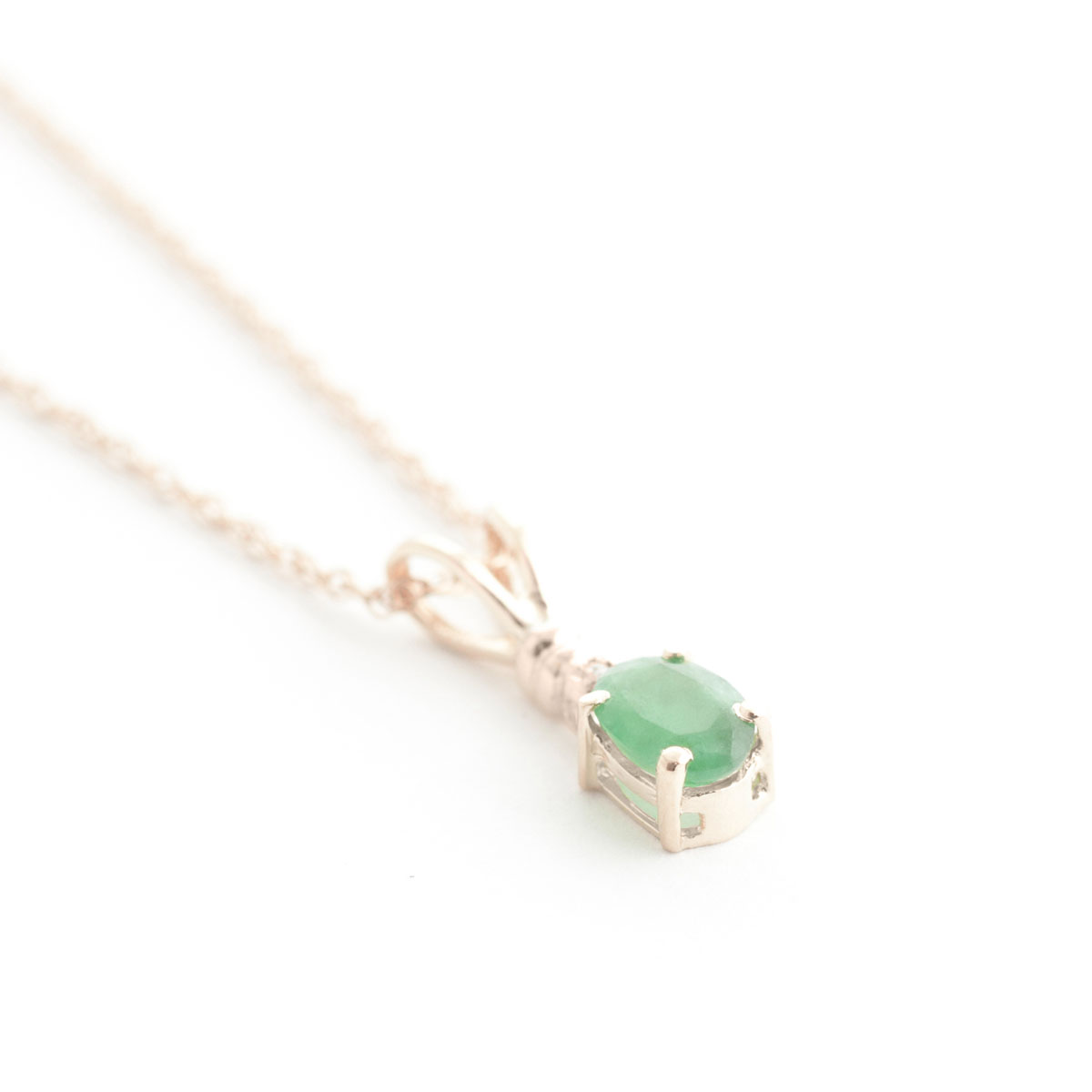 Emerald & Diamond Pendant Necklace in 9ct Rose Gold