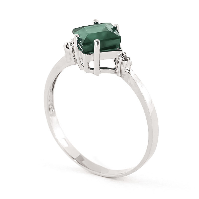 Emerald & Diamond Princess Ring in 9ct White Gold