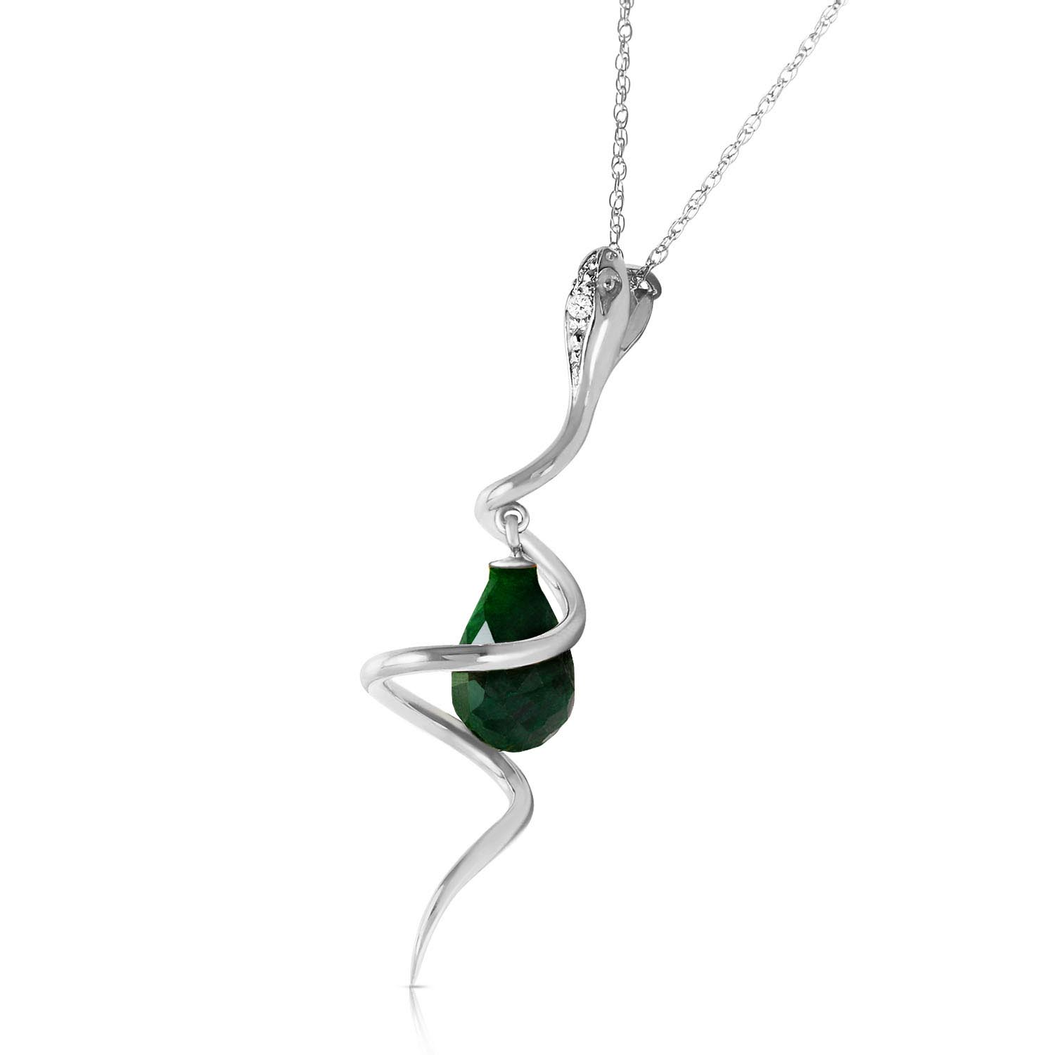 Emerald & Diamond Serpent Pendant Necklace in 9ct White Gold