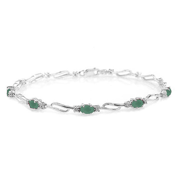 Emerald & Diamond Tennis Bracelet in 9ct White Gold