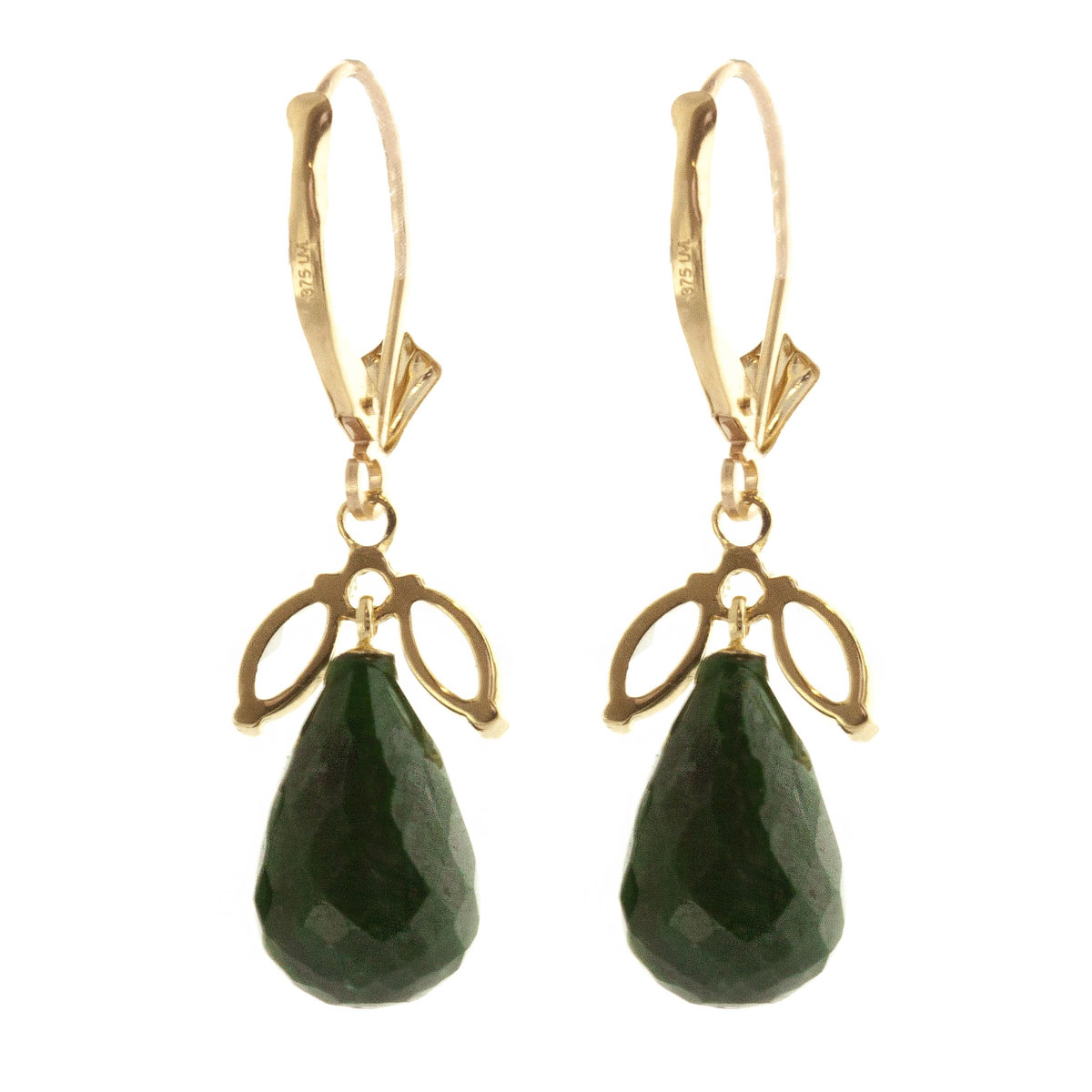 Emerald & White Topaz Snowdrop Earrings in 9ct Gold