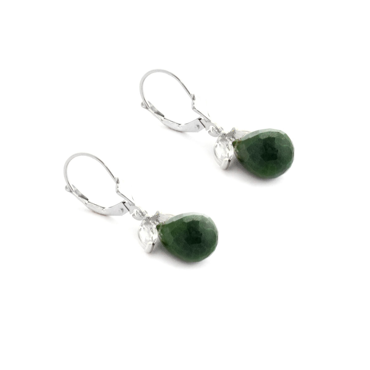 Emerald White Topaz Snowdrop Earrings In 9ct Gold