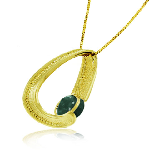 Emerald Arc Pendant Necklace 1 ct in 9ct Gold