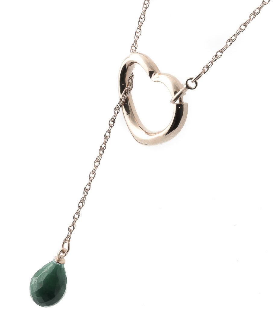 Emerald Heart Drop Pendant Necklace 3.3 ct in 9ct Rose Gold