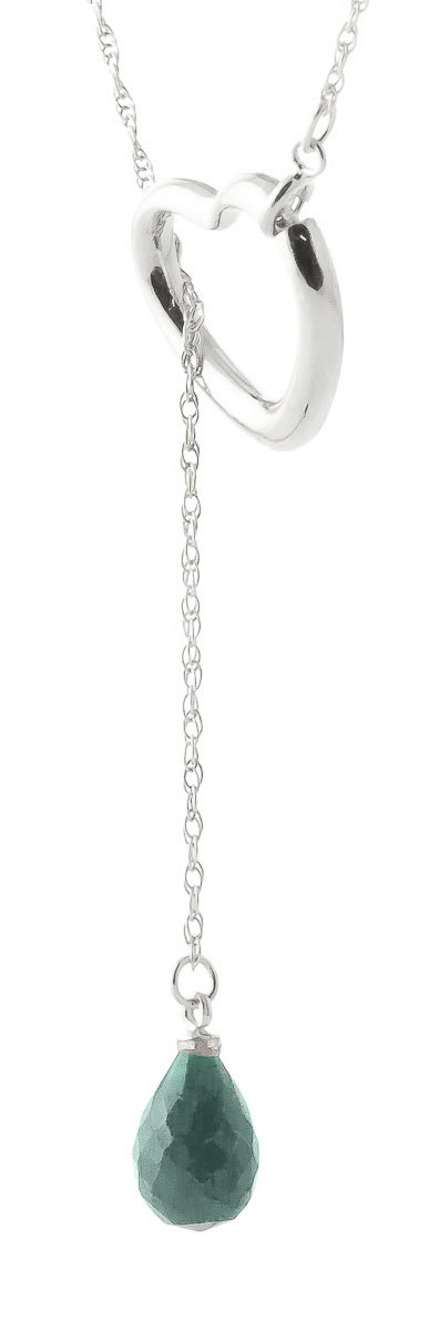 Emerald Heart Drop Pendant Necklace 3.3 ct in 9ct White Gold