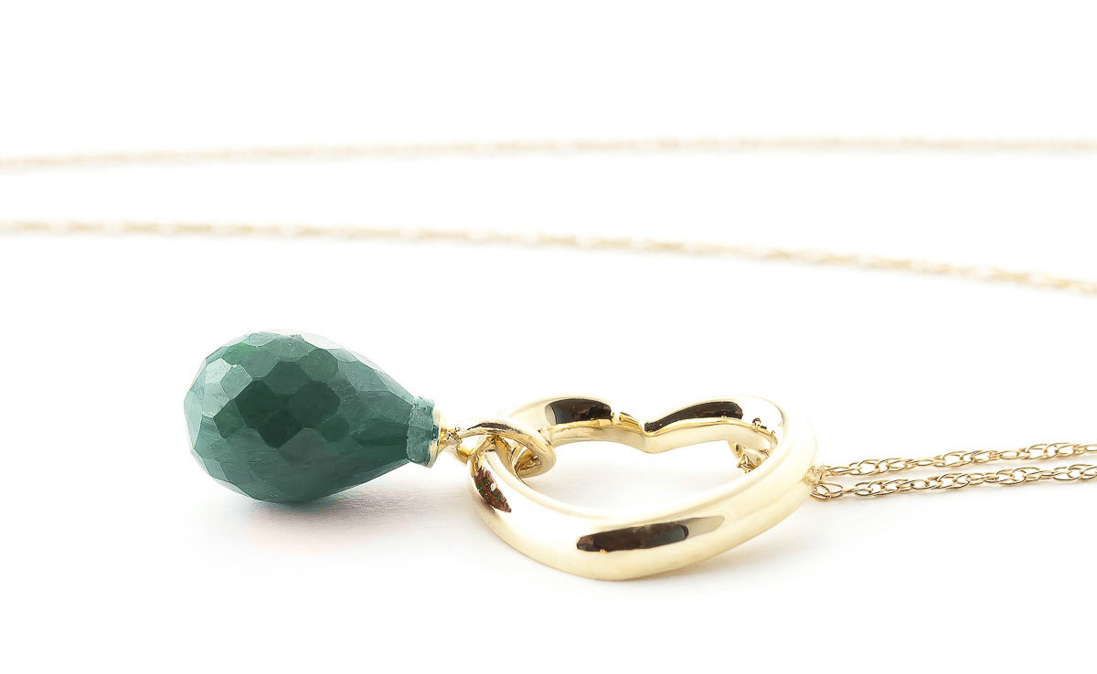 Emerald Heart Pendant Necklace 3.3 ct in 9ct Gold