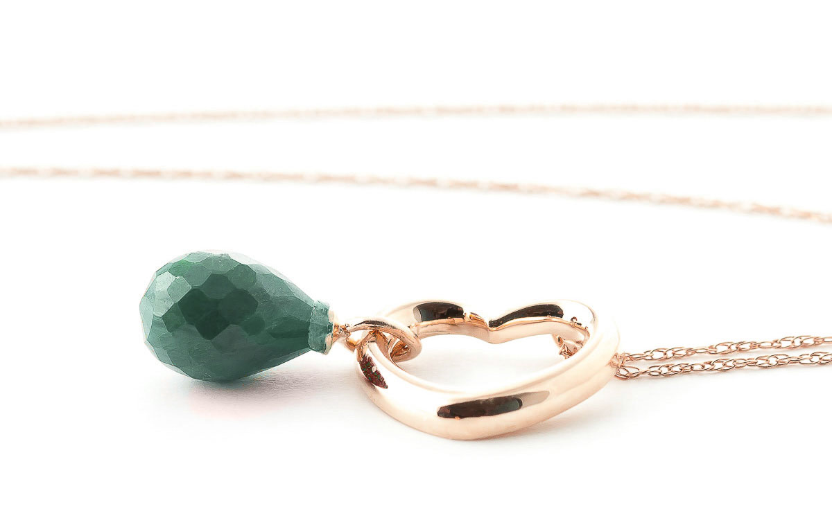 Emerald Heart Pendant Necklace 3.3 ct in 9ct Rose Gold