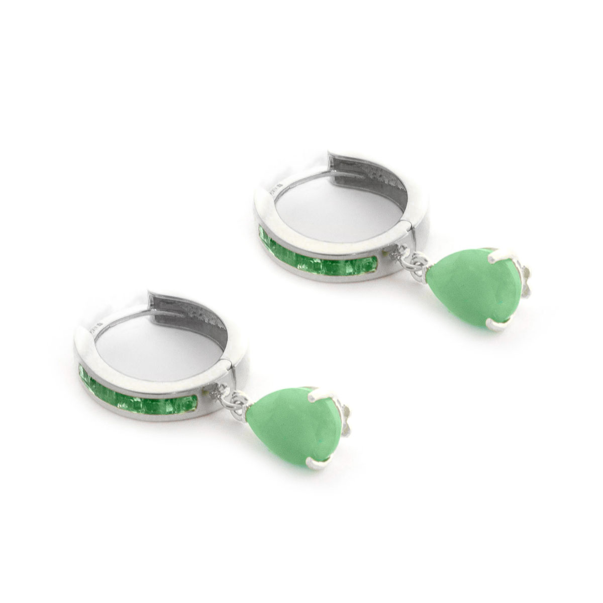 0f776d3fe22ba Emerald Huggie Drop Earrings 1.3 ctw in 9ct White Gold