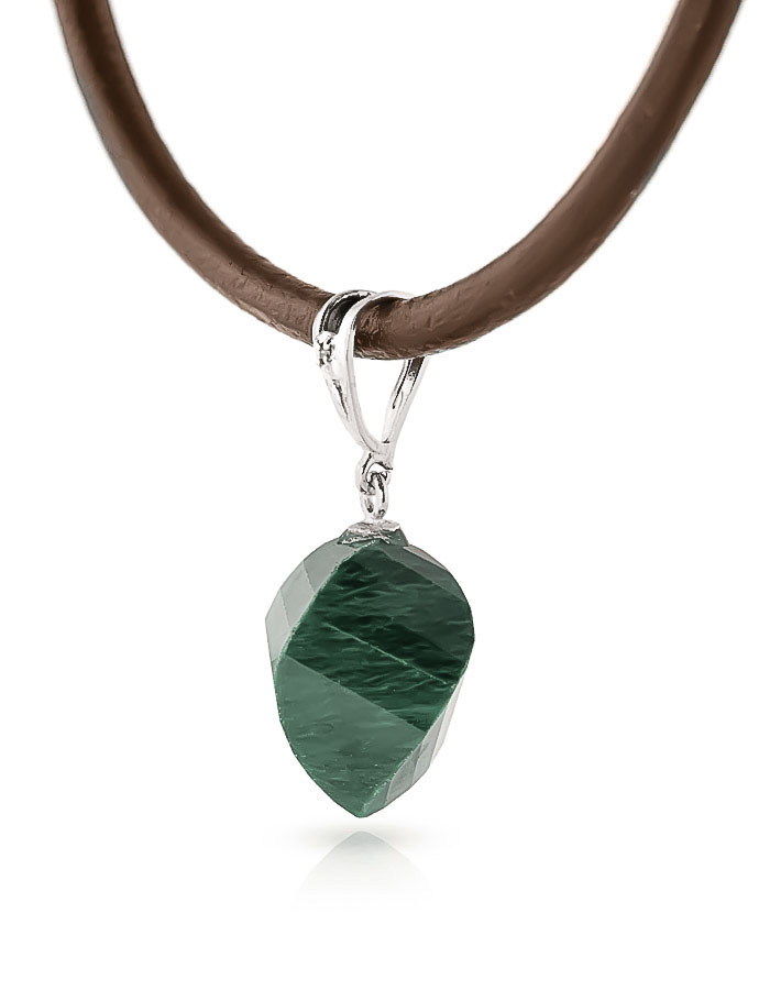 Emerald Leather Pendant Necklace 15.26 ctw in 9ct White Gold