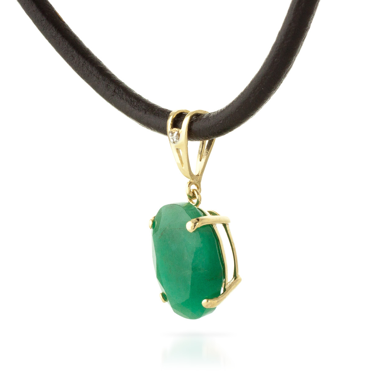 Emerald Leather Pendant Necklace 6.51 ctw in 9ct Gold