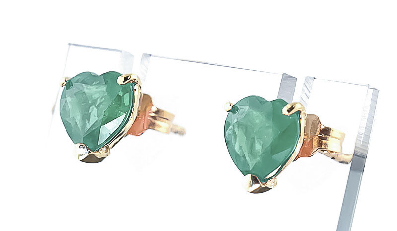 Emerald Stud Earrings 2.4 ctw in 9ct Gold
