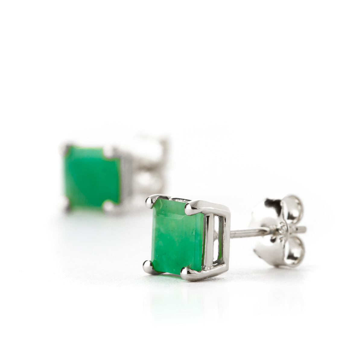 Emerald Stud Earrings 2 9 Ctw In 9ct White Gold