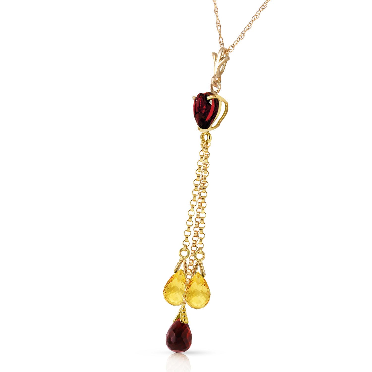 Garnet & Citrine Comet Tail Pendant Necklace in 9ct Gold