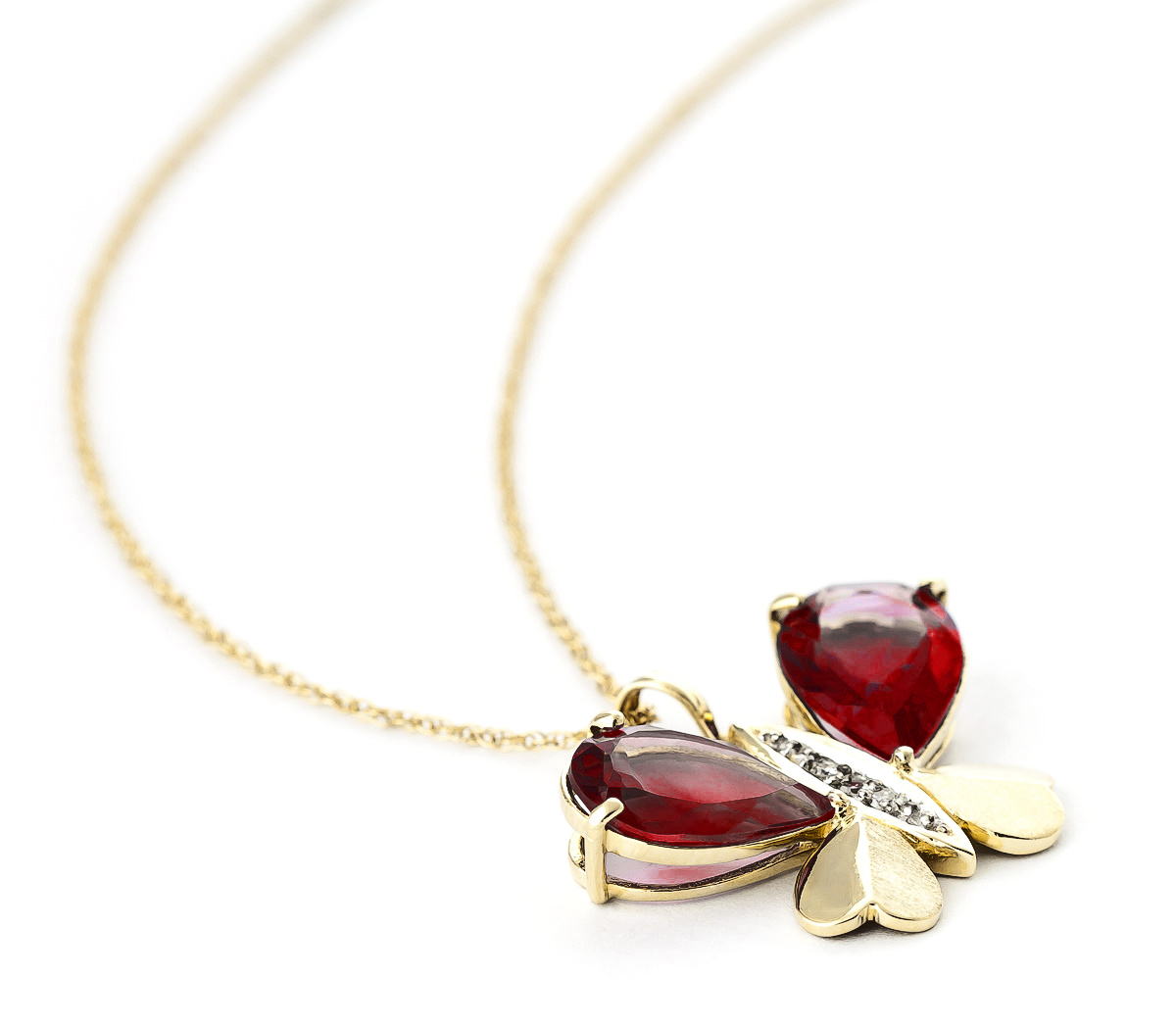 Garnet & Diamond Butterfly Pendant Necklace in 9ct Gold