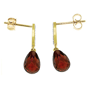 Garnet & Diamond Droplet Earrings in 9ct Gold