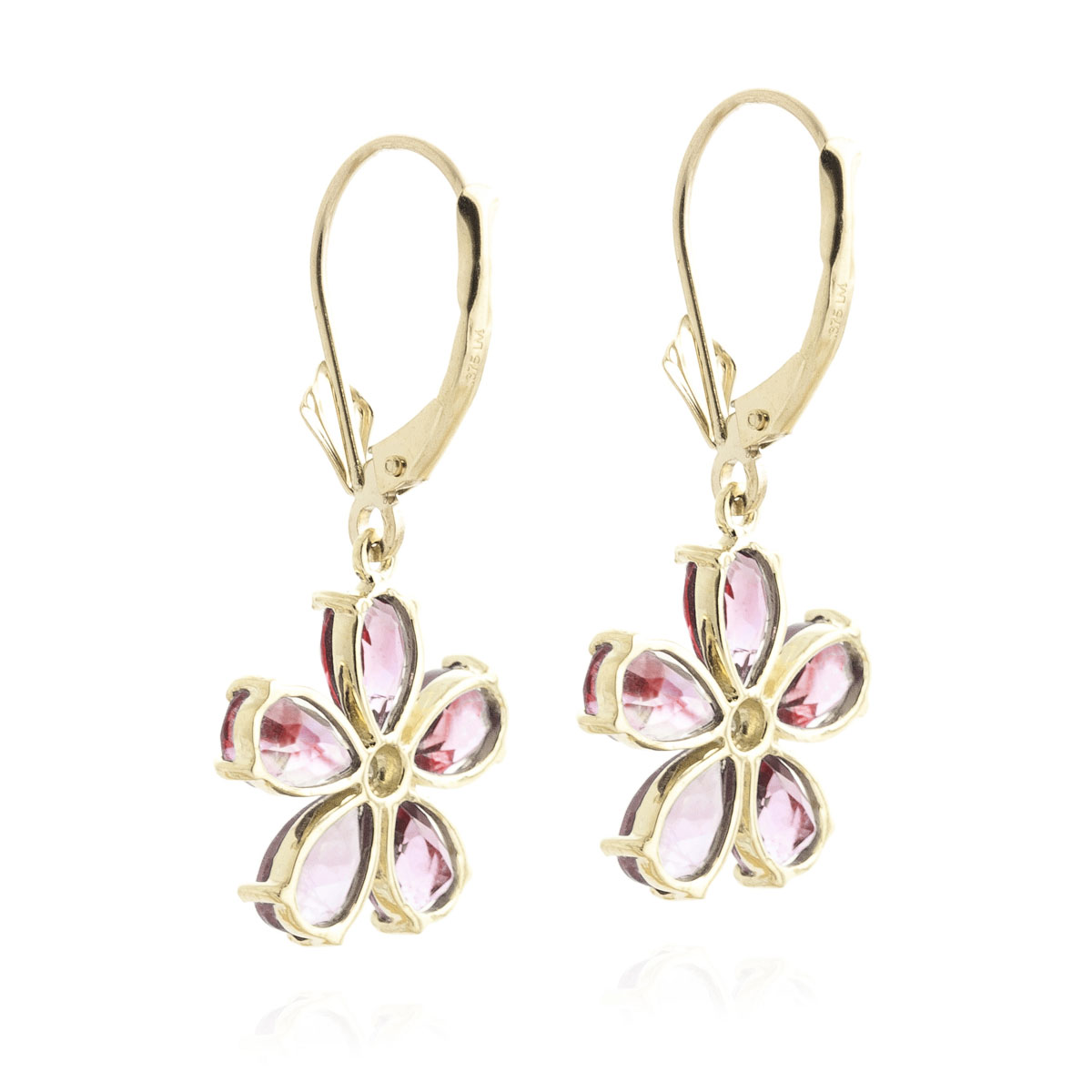 Garnet & Diamond Flower Petal Drop Earrings in 9ct Gold