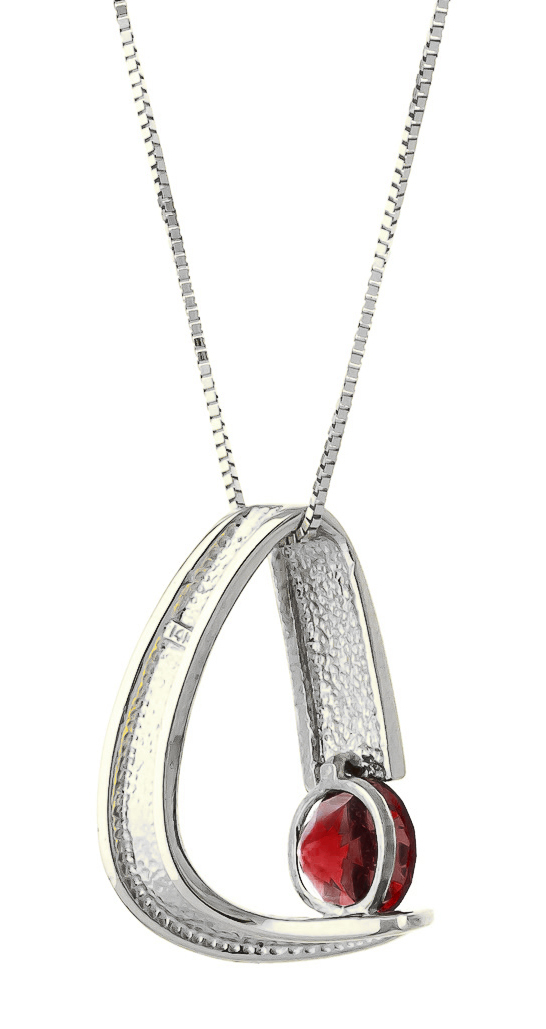 Garnet Arc Pendant Necklace 1 ct in 9ct White Gold