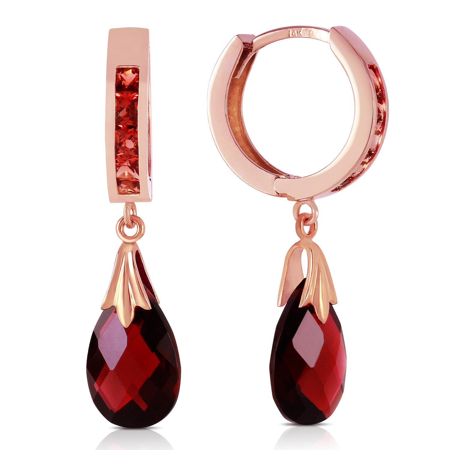 Garnet Droplet Huggie Earrings 6.85 ctw in 9ct Rose Gold