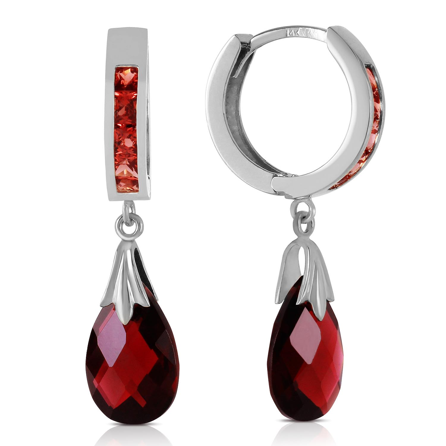 Garnet Droplet Huggie Earrings 6.85 ctw in 9ct White Gold